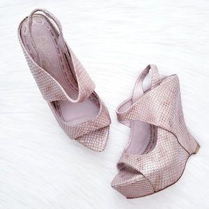 Alice + Olivia Delilah Snake Wedge Sandal